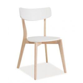Jídelní židle v bílé barvě a dekoru dub bělený KN437