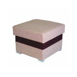 Taburetka s úložným prostorem ROSANA, ekokůže čokoládová, látka světle hnědá