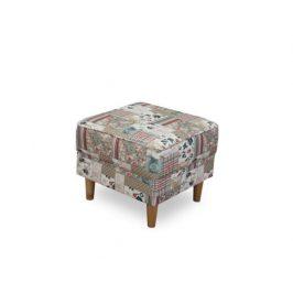 Křeslo s taburetem Porterie, látka patchwork Viorica 1