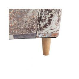 Křeslo s taburetem Porterie, látka vintage hnědá 1026