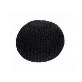 Pletený taburet Mercerie 2, bavlna černá