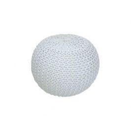 Pletený taburet Mercerie 1, bavlna smetanová / bílý melír