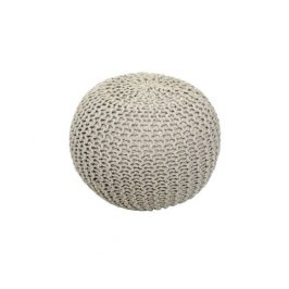 Pletený taburet Mercerie 1, bavlna krémová
