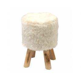 Taburet, bílá/borovice, ALPIA