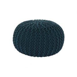 Pletený taburet Mercerie 2, bavlna petrolejová