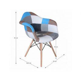 Designové křeslo Kubis TYP 2, látka patchwork / buk