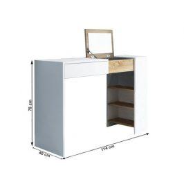 Toaletní stolek Brixham, bílá / dub sonoma