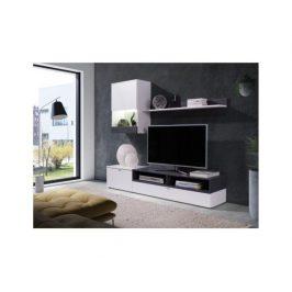 Obývací stěna Caminetto, bílá / sosna tmavá Obývací stěny