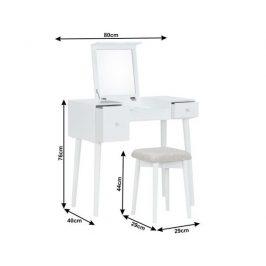 Toaletní stolek s taburetem Prentic, bílá
