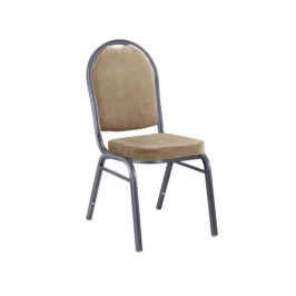 Stohovatelná židle JEFF 2, látka béžová / rám šedý