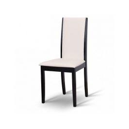 Dřevěná židle VENIS, wenge/ekokůže bílá