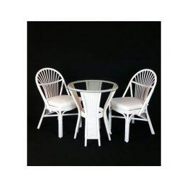 Ratanová jídelní souprava BALI - bílý ratan, 2 židle