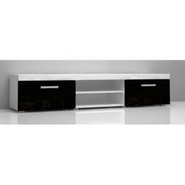 TV stolek Mamba, bílá-černý lesk