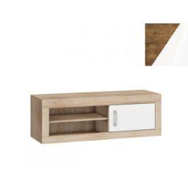 Televizní stolek Verin 21, dub burgundský/bílý lesk