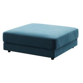 Tmavě modrá podnožka devichy Laure, 112x112cm