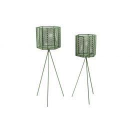Sada 2 tmavě zelených kovových stojanů na květináče PT LIVING Hexagon