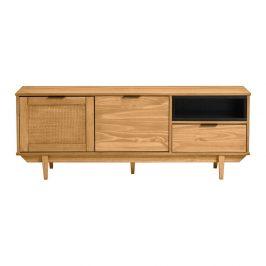 Hnědá TV komoda z borovicového dřeva a s dvířky z ratanu Marckeric Dakar, šířka 140,4 cm