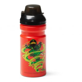 Červená lahev na vodu s černým víčkem LEGO® Ninjago, 390ml