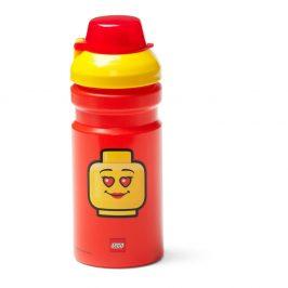 Červená lahev na vodu se žlutým víčkem LEGO® Iconic, 390ml