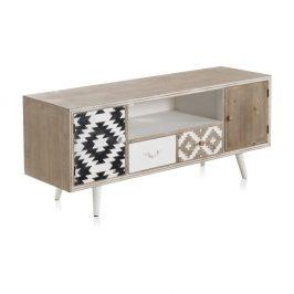 TV stolek s černobílými detaily a dvěma šuplíky Geese Rustico Geometric