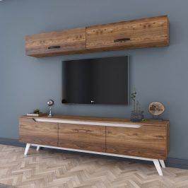 Set nástěnné skřínky a TV stolku v dřevěném dekoru Wren