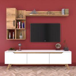 Set bílého TV stolku a 2 nástěnných polic v dekoru ořechového dřeva Nut