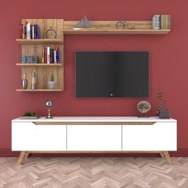 Set bílého TV stolku a 2 nástěnných polic v dekoru ořechového dřeva Wren