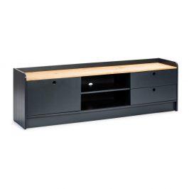 Šedý TV stolek s deskou v dekoru borovicového dřeva Marckeric Monte