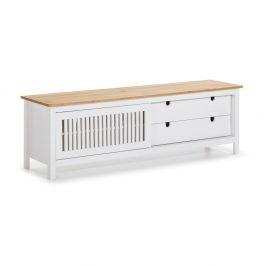 Bílý dřevěný TV stolek Marceric Bruna