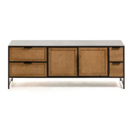 Černo-hnědý TV stolek La Forma Kyoko, 150 x 55 cm