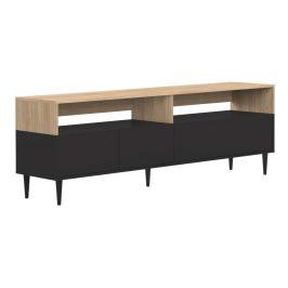 Černý TV stolek v dekoru dubového dřeva TemaHome Horizon