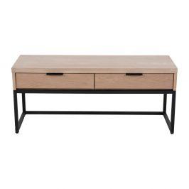 Televizní stolek s 2 šuplíky z jasanového dřeva a kovovou konstrukcí Canett Cara, šířka 43 cm