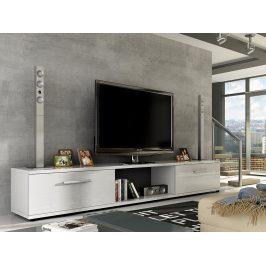 Televizní stolek MALTON RTV, bílá/bílý lesk