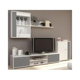 GENTA obývací stěna, bílá / šedá