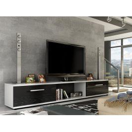 Televizní stolek MALTON RTV, bílá/černý lesk