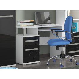 ANGEL PC stůl 1D1S, bílá/černý lesk