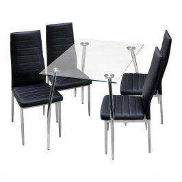 Jídelní stůl GRANADA + 4 židle MILÁNO černá
