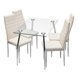 Jídelní stůl GRANADA + 4 židle MILÁNO krémově bílá