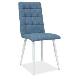 Jídelní čalouněná židle OTTO, modrá/bílá Židle do kuchyně