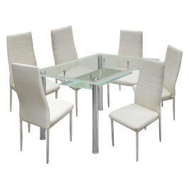 Jídelní stůl VENEZIA + 6 židlí MILÁNO krémově bílá