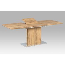 Rozkládací jídelní stůl HT-670 OAK, dub / nerez