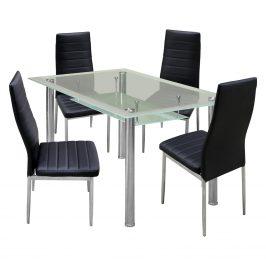 Jídelní stůl VENEZIA + 4 židle MILÁNO černá