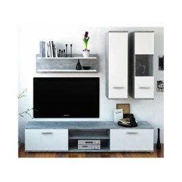 WAW obývací stěna, beton / bílá