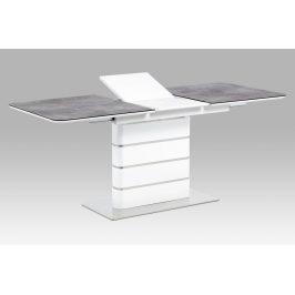Jídelní stůl HT-455 GREY, šedé sklo/bílý lesk/broušený nerez
