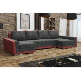 Rohová sedačka MADRYT U, černá látka/červená látka