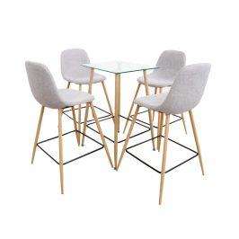 DAMAN jídelní set stůl / čtyři židle, světle šedá