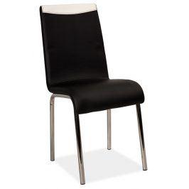 Jídelní čalouněná židle H-161, černá/bílá