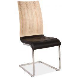 Jídelní čalouněná židle H-791, černá/dub sonoma