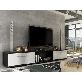 Televizní stolek MALTON RTV, černá/bílý lesk
