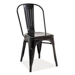 Jídelní kovová židle LOFT, černá Židle do kuchyně